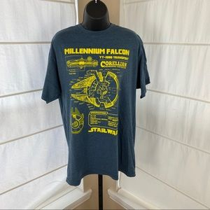 Star Wars Millennium Falcon Blueprint T-Shirt